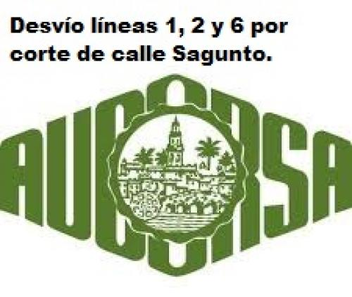 Desvío líneas 1, 2 y 6 por corte de calle Sagunto.